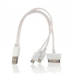Dark 20cm iPhone 30 Pin / Lightning / Micro USB Şarj Kablosu