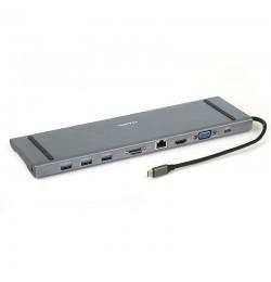 Dark USB 3.1 Type C 10 in 1 Ethernet / HDMI / VGA / TF SD Kart Okuyucu / USB 3.0 / Kulaklık Çoklayıcı Dönüştürücü Çevirici HUB