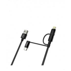Dexim 3 in 1 MFI Lisanslı 1.5metre  Şarj ve Senk. Kablo