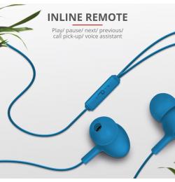 Trust 21951 Ziva Kulakiçi Mikrofonlu Kulaklık-Mavi