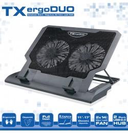 TX ErgoDUO 14cm Dual LED FAN'lı ,5 x Yükseklik Ayarlı,2 x USB HUB'lı, 11